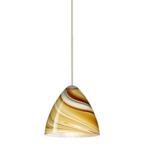 Mia Satin Nickel LED Mini Pendant with Flat Canopy and Honey Glass