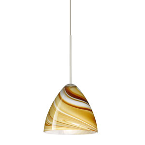Mia Satin Nickel Halogen Mini Pendant with Flat Canopy and Honey Glass