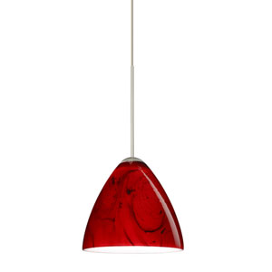 Mia Satin Nickel LED Mini Pendant with Flat Canopy and Magma Glass