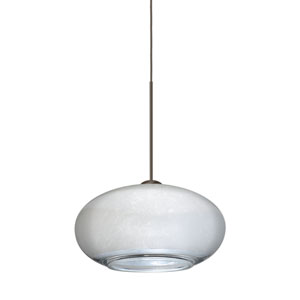 Brio Bronze LED Mini Pendant with Flat Canopy and Silver Foil Glass