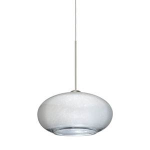 Brio Satin Nickel LED Mini Pendant with Flat Canopy and Silver Foil Glass
