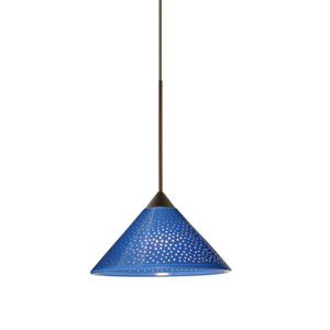 Kona Bronze LED Mini Pendant with Flat Canopy and Blue Starpoint Glass