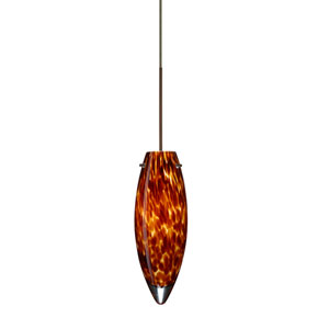 Juliette Bronze LED Mini Pendant with Flat Canopy and Amber Cloud Glass
