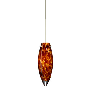 Juliette Satin Nickel Halogen Mini Pendant with Flat Canopy and Amber Cloud Glass