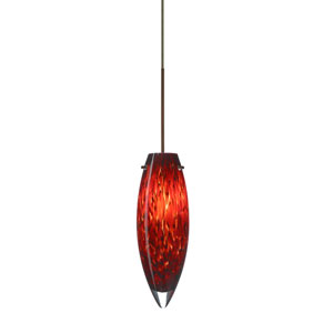 Juliette Bronze LED Mini Pendant with Flat Canopy and Garnet Glass