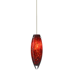 Juliette Satin Nickel Halogen Mini Pendant with Flat Canopy and Garnet Glass