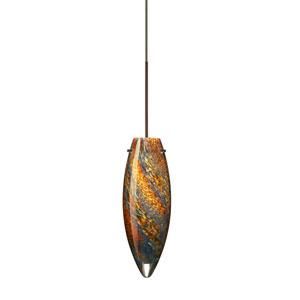 Juliette Bronze LED Mini Pendant with Flat Canopy and Ceylon Glass