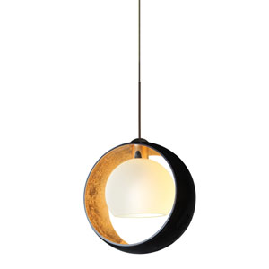 Pogo Bronze LED Mini Pendant with Flat Canopy and Black and Inner Gold Glass