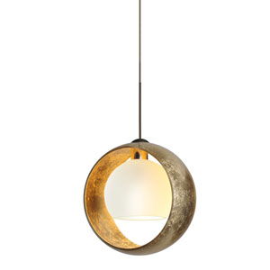 Pogo Bronze LED Mini Pendant with Flat Canopy and Gold and Inner Gold Glass