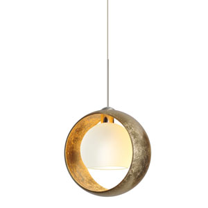 Pogo Satin Nickel LED Mini Pendant with Flat Canopy and Gold and Inner Gold Glass