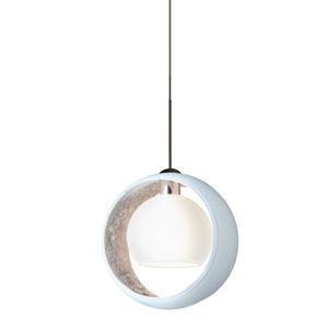 Pogo Bronze LED Mini Pendant with Flat Canopy and White and Inner Silver Glass