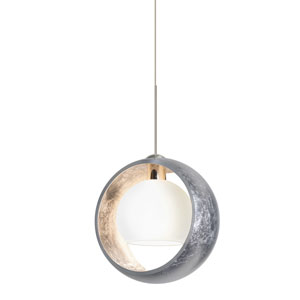 Pogo Satin Nickel LED Mini Pendant with Flat Canopy and Silver and Inner Silver Glass