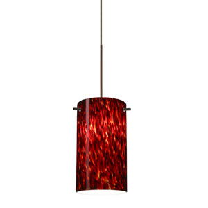 Stilo Bronze LED Mini Pendant with Flat Canopy and Garnet Glass