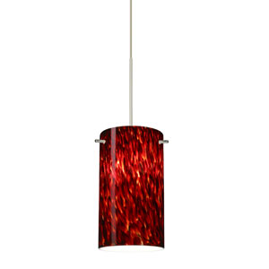 Stilo Satin Nickel Halogen Mini Pendant with Flat Canopy and Garnet Glass