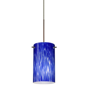 Stilo Bronze LED Mini Pendant with Flat Canopy and Blue Cloud Glass