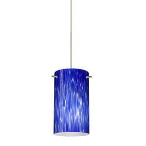 Stilo Satin Nickel LED Mini Pendant with Flat Canopy and Blue Cloud Glass