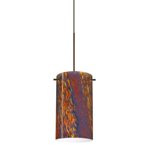 Stilo Bronze Halogen Mini Pendant with Flat Canopy and Ceylon Glass