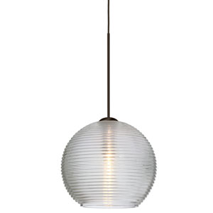 Kristall Bronze LED Mini Pendant with Flat Canopy and Clear Glass