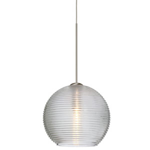 Kristall Satin Nickel LED Mini Pendant with Flat Canopy and Clear Glass