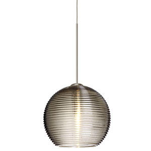 Kristall Satin Nickel LED Mini Pendant with Flat Canopy and Smoke Glass