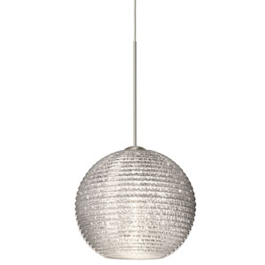 Kristall Satin Nickel LED Mini Pendant with Flat Canopy and Glitter Glass