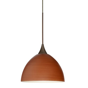 Brella Bronze LED Mini Pendant with Flat Canopy and Cherry Glass