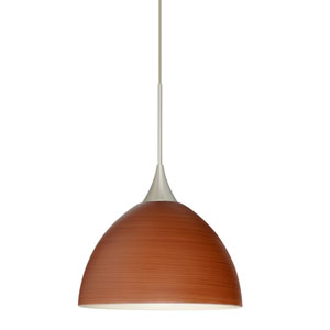 Brella Satin Nickel LED Mini Pendant with Flat Canopy and Cherry Glass