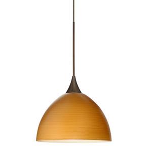 Brella Bronze LED Mini Pendant with Flat Canopy and Oak Glass