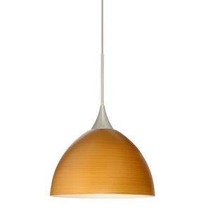 Brella Satin Nickel LED Mini Pendant with Flat Canopy and Oak Glass