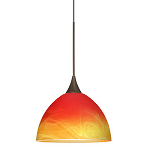 Brella Bronze LED Mini Pendant with Flat Canopy and Solare Glass