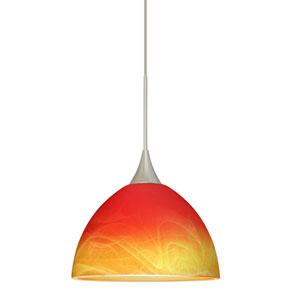 Brella Satin Nickel LED Mini Pendant with Flat Canopy and Solare Glass
