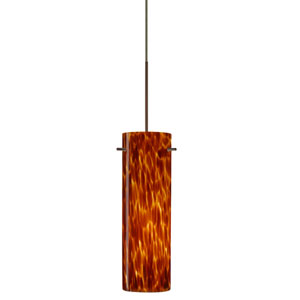 Copa Bronze Halogen Mini Pendant with Flat Canopy and Amber Cloud Glass