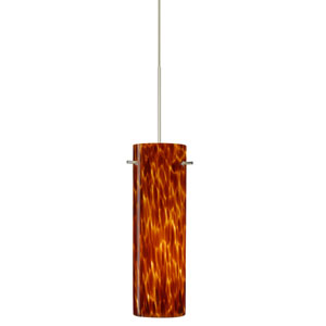 Copa Satin Nickel Halogen Mini Pendant with Flat Canopy and Amber Cloud Glass