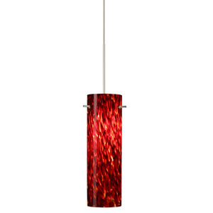 Copa Satin Nickel LED Mini Pendant with Flat Canopy and Garnet Glass