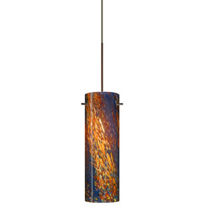 Copa Bronze Halogen Mini Pendant with Flat Canopy and Ceylon Glass
