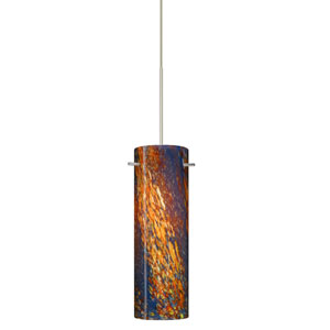 Copa Satin Nickel LED Mini Pendant with Flat Canopy and Ceylon Glass