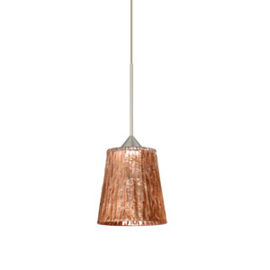 Nico Satin Nickel LED Mini Pendant with Flat Canopy and Stone Copper Foil Glass