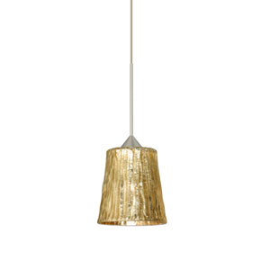 Nico Satin Nickel LED Mini Pendant with Flat Canopy and Stone Gold Foil Glass