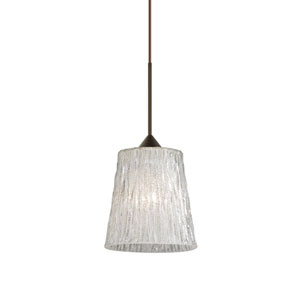 Nico Bronze Halogen Mini Pendant with Flat Canopy and Stone Glitter Glass