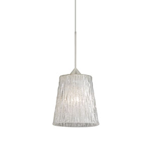 Nico Satin Nickel LED Mini Pendant with Flat Canopy and Stone Glitter Glass
