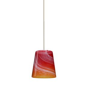 Canto Satin Nickel Halogen Mini Pendant with Flat Canopy and Solare Glass