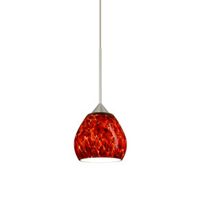 Tay Tay Satin Nickel Halogen Mini Pendant with Flat Canopy and Garnet Glass