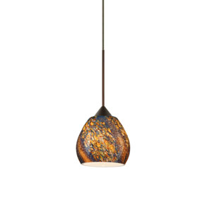 Tay Tay Bronze Halogen Mini Pendant with Flat Canopy and Ceylon Glass