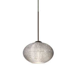 Lasso Bronze LED Mini Pendant with Flat Canopy and Glitter Glass