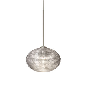 Lasso Satin Nickel Halogen Mini Pendant with Flat Canopy and Glitter Glass