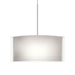 Jodi Satin Nickel LED Mini Pendant with Flat Canopy and Opal Glossy Glass