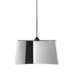 Groove Bronze LED Mini Pendant with Flat Canopy and Mirror-Frost Glass