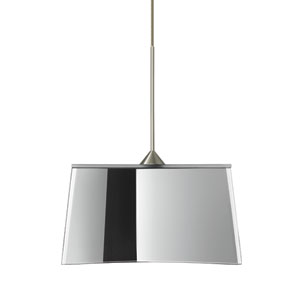 Groove Satin Nickel LED Mini Pendant with Flat Canopy and Mirror-Frost Glass