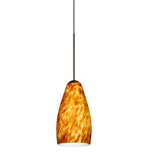 Karli Bronze LED Mini Pendant with Flat Canopy and Amber Cloud Glass