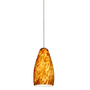 Karli Satin Nickel LED Mini Pendant with Flat Canopy and Amber Cloud Glass